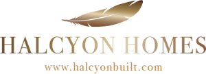 halcyon homes logo text with feather