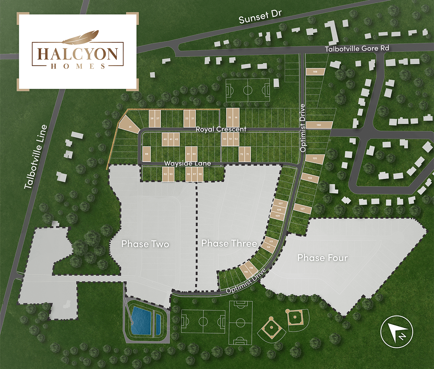 talbotville site plan with lot numbers